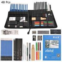 48 adet eskiz kalemler profesyonel çizim çizim kalemler seti set ahşap kalem sanat malzemeleri için okul öğrencileri T200107