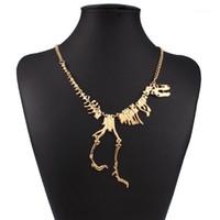 도매 새로운 펑크 스타일 고딕 티라노 사우루스 해골 공룡 목걸이 뼈 펑키 체인 펜던트 실버 컬러 1