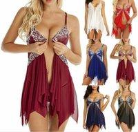 Femmes Lingerie dentelle Babydoll col en V Sangle de nuit + G-Chemise chaîne Chemise de nuit Chemise de nuit, plus la taille
