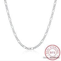 """SMTCAT caldo di vendita 925 catene sterlina 2MM Figaro collana Belle gioielli in argento 925 Figaro collane Chain 16 """"-24"""""""