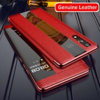Luxus Echtes Leder Flip Hüllen für Huawei Mate20 P20 P30 Pro Smart Touch Protector Cover Handy Case Ansicht 360 Schutz