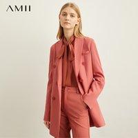 Amii primavera minimalista estilo occidental ropa exterior pantalones pantalones cortos profesionales oficina damas chaqueta mujeres nuevo otoño ocio lj201117