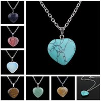 Ladies new heart- shaped stone pendant turquoise crystal peac...