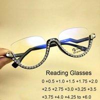 Zonnebril Half frame leesglazen Clear Lens Anti Blauw Licht Vergrootglas Vintage Crystal Diamond Brillen Frames voor Vrouwen 0.5