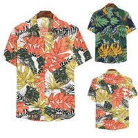 Single Breasted Beach Loose Tops Mens Leaves Printing Shirts...