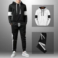 Tracksuit Men Patchwork Sportswear Men Autumn Mens Hoodies Sets Spring Fashion Letter Printed Sweatshirt Hooded Trainingspak New1