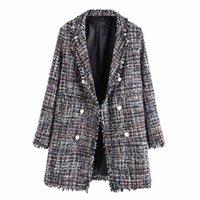 Damenmode-Jacken mit langärztem Langarmgitter Perle-Button Plus Size Slim Radfahren Winddicht Büro Dame Casual Mantel