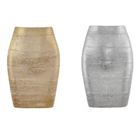 Women Summer Fashion Sexy Gold Bronzing Bandage Skirt Design...