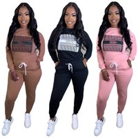 2020 Tuta da donna calda Due pezzi Set off spalla manica a pipistrello Pantaloni Top Pantaloni a contrasto Colore Ladies Hooded Outfits Sportwear T Shirt + Pantaloni
