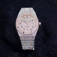 2021 RFF 15400 FULL DIAMOND CAL.3120 Automatiska Mens Watch Gypsophila Pavé Diamonds Arabic Dial Diamond Rose Gold Two-Tone Armband Klockor
