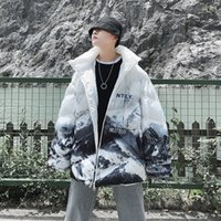 Mens Winter Coats Fashion Mens Jacket Snow Printing Hooded Zipper Windbreaker Casual Loose Men Winter Jacket 2 Colors Size M-3XL
