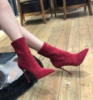 Голеностопные ботинки весна 2020 нового эластичный носок ботинка заостренный высокий каблук шпилька и универсальная черный Мартин ботинок