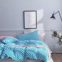Blaue weiße karierte geometrische Bettwäsche Set Baumwolle Twin Queen King-Size Bettwäsche Bettwäsche Bettdecken-Kissenbezug Modernes einfaches Design 6F8W #