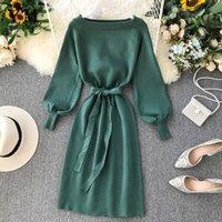 Yuoomuoo buena calidad cómoda elegante suéter de punto vestido de mujer 2019 vestido de fiesta vestido de fiesta de vendaje otoño vestido de midi verde Vestidos Y0118