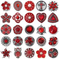 6pcs / lot Pulsante Snap Pulsante Gioielli Red Series Tema Rhinestone Flower Pattern Pulsanti Snap Fit 18mm Bracciali Braccialetti Braccialetti Gioielli fai da te1