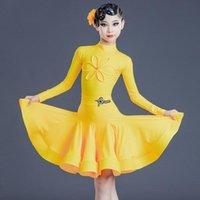 Студенческая одежда 2021 Латинская танцевальная одежда для девочек Детские Полугольный воротник Цветок Сплит Костюм Профессиональное Конкурсное платье