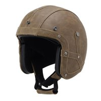 Leather Motorcycle Open Face Helmet Vintage Helmets For Moto...