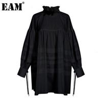 [EAM] Женщины оборками Разделить сустав Большой размер блузка Новый стенд воротник с длинным рукавом свободная подходит рубашка мода весна осень 1d464 201201