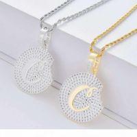 hip hop biscuits diamants pendentif colliers pour hommes femmes de luxe cristal pendentifs cuits de cuisine 18 carats en or zircons en cuivre zircons or collier argent