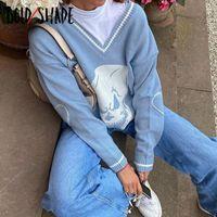 Negrita Shade Streetwear Y2K Grunge suéter con cuello en V de los cráneos Impreso de punto azul Mujeres Suéter Moda Otoño Invierno suéter 2020