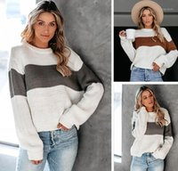 2020 new plus size women round neck striped loose knit sweat...