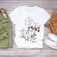 2021 Donna Flower Lady Fashion Manica Corta Vestiti estetici Vestiti estive Camicia Estate T-shirt Top T Graphic Female Donna Donna T-shirt T-shirt