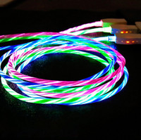 2.4A LED Flowing Light Up Micro USB Type-C Charging Cable for Phone Android Samsung HTC LG Charger Cord