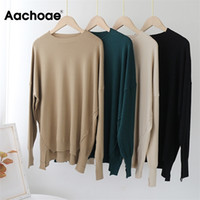 AACHOAE O col solide pull Sweater Femmes ourlet ourlet irrigulier élégant chics chics Lady Batwing manches longues Pull tricoté femelle 201221