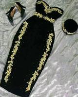 Little Black Dress Nero Abiti da sera algerian Abiti da cocktail arabo Velluto Green Prom Gown Karakou Marocchino Caftan Party Dress