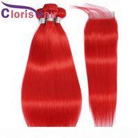 Rohe jungfräuliche indische haare webart 3 bündel mit spitze verschluss rot farbige menschliche haare seide geradlinig 4x4 obere schließungen und erweiterungen 4 stücke Angebote