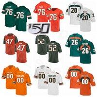 NCAA Football Miami Hurricanes College 20 Ed Reed Jersey 52 Ray Lewis 26 Sean Taylor 47 Michael Irvin Warren Sapp Orange grün weiß