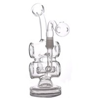 8 Inchs Mini Dab Rigs Glass Oil Rigs Recycler bong Double Ba...