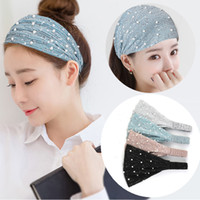 Sequins Turban Headband Women Pearl Wide Elastic Hairband Wa...