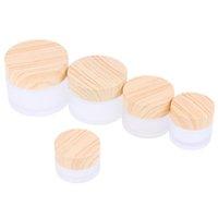2021 Fosco frasco de vidro frasco cuidados com a pele creme de olho creme frasco frasco recarregável recipiente cosmético com madeira LID 5G 10G 15G 30G 50G