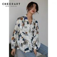 Женские блузки Рубашки Cheerart Корейская рубашка с длинным рукавом кнопка белая свободная блузка повседневные вершины для женщин эстетический воротник 2021 Spring1