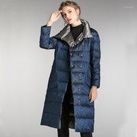 Mulheres para baixo parkas fitaylor inverno duplo lados jaqueta longa mulheres carrinho colarinho branco pato casaco 5xl peito quente neve outwear1