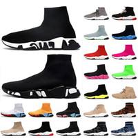 2021 New Top Graffiti Sock Sapatos luxurys Designers Mulheres Homens calçados casuais Tripler Womens Vintage Botas Mens Sock Trainers ACE Sneakers