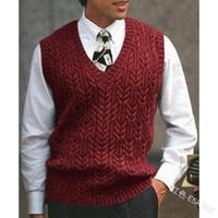 WEPBEL Mode pour hommes de couleur unie Pull Slim-Fit Gilet Casual manches col V chaud Gilet en tricot Automne et Hiver
