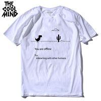 Coolmind 100% algodão Dino Tshirt Masculino Verão T-shirt engraçado T-shirt dos homens que você imprime dinossauro camiseta