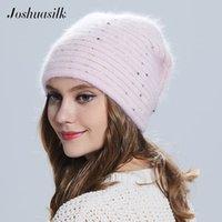 Joshuasilk зима Женщины шляпы бабочка трикотажных шерсти ангорские Полосатые шляпы с золотой крышкой украшения двойной теплой шапкой 201008