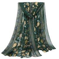 Шарфы Ucy Brand Высококачественная Voile с цветочным поличным синим и белым фарфором Большой длинный шарф Пляжное полотенце