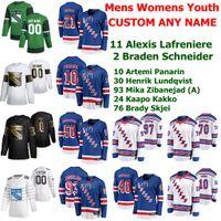 New York Rangers Hockey Jerseys 13 Alexis Lafreniere Jersey Braden Schneider Artemi Panarin Henrik Lundqvist Kaapo Kakko Custom genäht