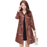 2020 New Spring Autumn Trench Coat Casual Women Coat Long Single-breasted Drawstring Slim Windbreaker Outerwear Plus Size 5XL1