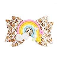 Accesorios para el cabello 6 unids Pinky Heart Rainbow Glitter Bow Clip Shelly para mujeres Chicas Horquillas Niños Niños Barrettes1