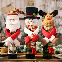 Nouveau Noël Décorations Cartoon portefeuille bouteille de vin à la main Cover Doll Tree Top Couverture Red Wine Birthday Party Supplies HHA1996