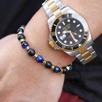 Pulseras de encanto Tiger ojo Pulsera de piedra de moda natural Lazurita Negro Matte Bead Weave Hematite para hombres Mujeres Joyería1
