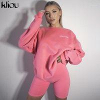 Kliou Mektup Baskı Rahat Iki Parçalı Kıyafetler Eşleştirme Seti Kadınlar Yeni Egzersiz Aktif Uzun Kollu Sportif Loungewear Top ve Şort1