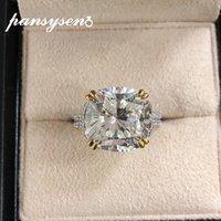 Pansysen Brand 21ct تم تصميم Moissanite حجر كبير خواتم الخطبة الزفاف للنساء 100٪ ريال 925 فضة مجوهرات الدائري Y0122