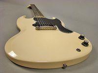 Tanıtım! 1965 Polaris Beyaz Krem SG Junior Elektrik Gitar Tek Siyah P-90 Pickup, Vintage Tuners, Sarma Tailpiece
