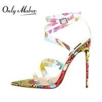 Sandalen OnlyMaker Womens Peep Toe Irisecent Criss Criss Cross Snake spitzige High Heel Fashion Summer Party Shoes1